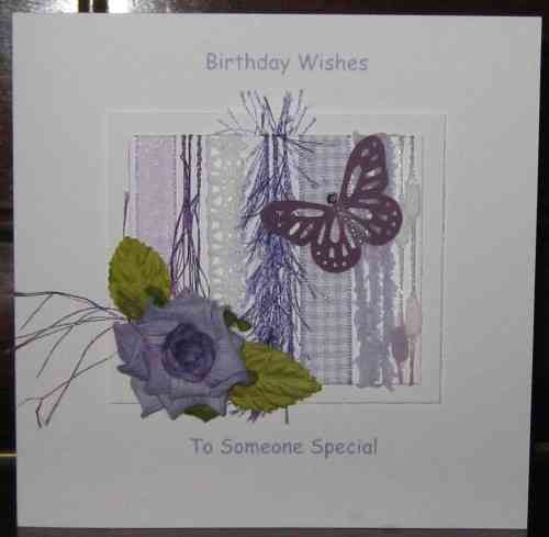 Personalised Handmade Birthday Card - Lilac Rose