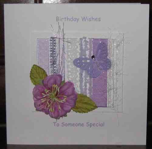 Personalised Handmade Birthday Card - Mauve Rose