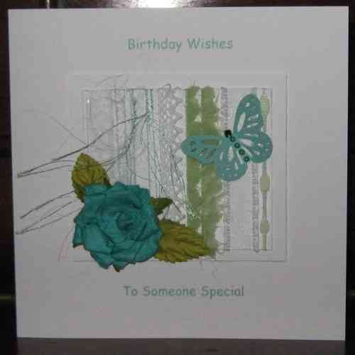 Personalised Handmade Birthday Card - Turquoise Rose