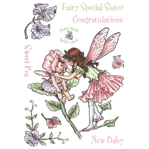 Flower Fairies of the Garden Rubber Stamp Set - Sweet Pea
