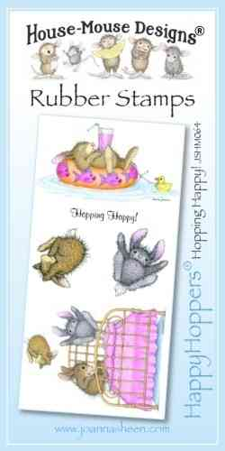 House Mouse Design Happy Hoppers Unmounted Rubber Stamp Set - Hopping Happy