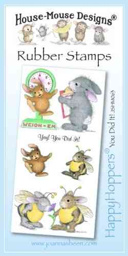 House Mouse Design Happy Hoppers Unmounted Rubber Stamp Set - You Did It