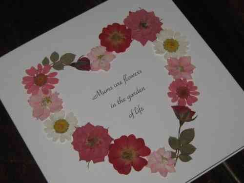 Handmade Mother's Day/Birthday  Card Real Flower Heart - Pink