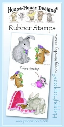 House Mouse Design Happy Hoppers Unmounted Rubber Stamp Set - Hoppy Birthday