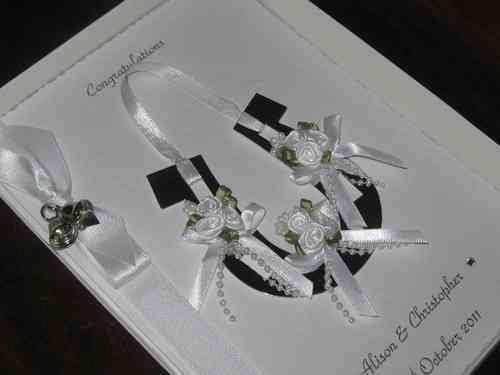 Personalised Handmade Wedding Card - Horseshoe Boxed White WED3
