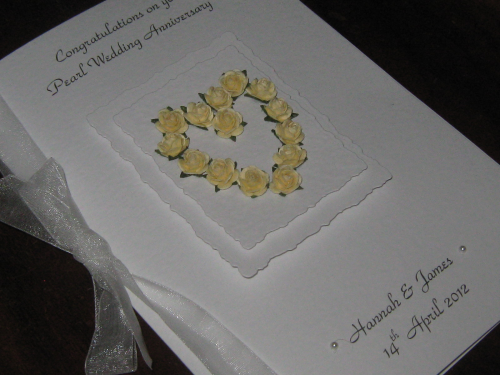 Personalised Handmade 30th Pearl  Anniversary Card - Mulberry Rose Heart Luxury Boxed