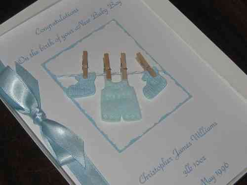 Personalised Handmade New Baby Boy Card - Baby Clothes Luxury Boxed BAB1
