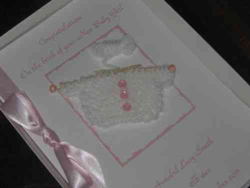 Personalised Handmade New Baby Girl Card - Knitted Jumper Luxury Boxed BAB2