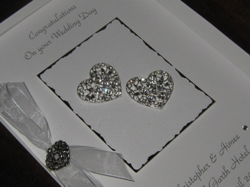 Luxury Handmade Wedding Card - Diamante Hearts Boxed