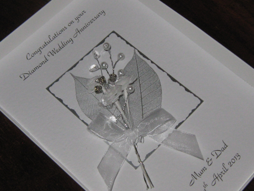 1st, 2nd, 13th, 20th, 60th, 75th Anniversary Card -  Rose & Jewel Bouquet