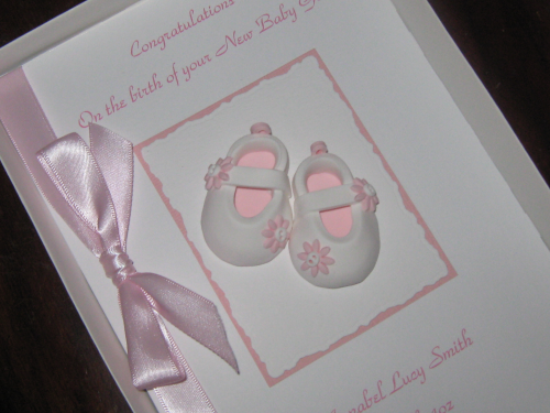 Personalised Handmade New Baby Girl Card - Baby Shoes Luxury Boxed
