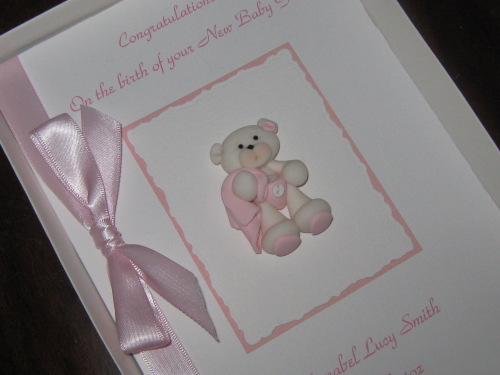Personalised Handmade New Baby Girl Card - Teddy with Blanket Luxury Boxed