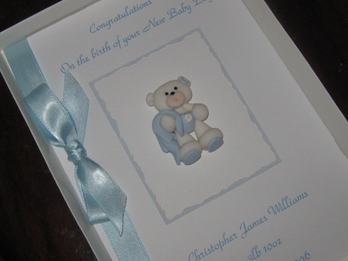 Personalised Handmade New Baby Boy Card