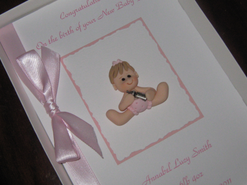 Personalised Handmade New Baby Girl Card - Baby Girl with Charm Luxury Boxed