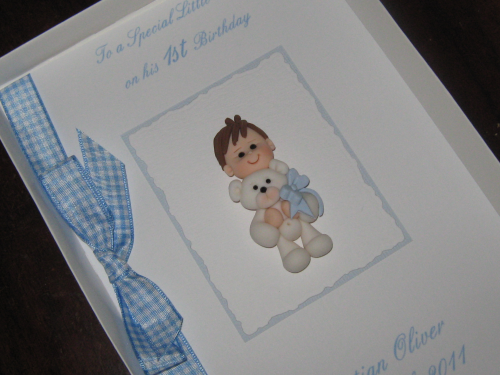 Personalised Handmade 1st Birthday Card/New Baby Boy Card - Baby Boy with Teddy Luxury Boxed