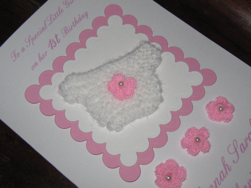 Personalised Handmade 1st Birthday Card/New Baby Girl Card