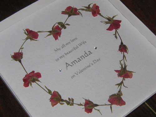Personalised Handmade Valentine Card - Real Rosebud Heart Silhouette Luxury Boxed