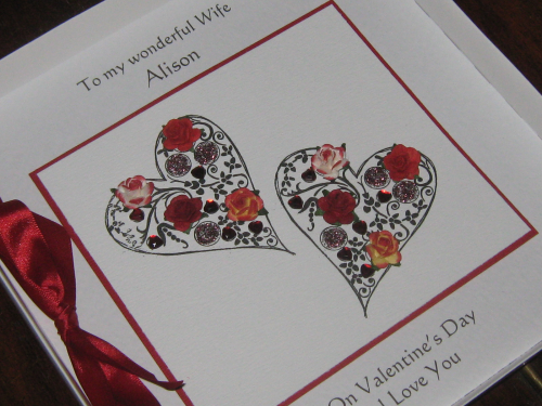 Personalised Handmade Valentine Card - Filigree Hearts Luxury Boxed