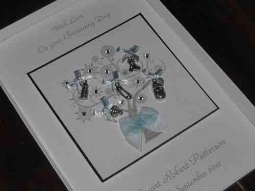 Handmade Christening Card - Baby Charm Tree Luxury Boxed