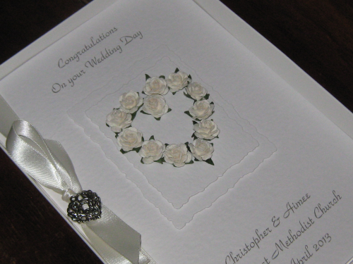 Personalised Handmade Wedding Card - Mulberry Rose Heart Luxury Boxed WED4