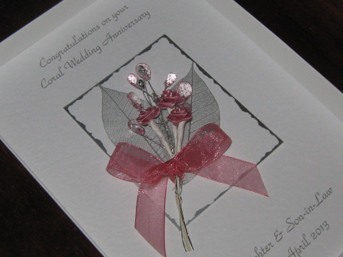 Luxury Personalised Handmade 4th, 35th Wedding Anniversary Card -  Rose & Jewel Bouquet Boxed