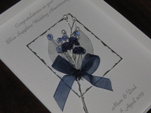 Luxury Personalised Handmade 45th, 65th Wedding Anniversary Card -  Rose & Jewel Bouquet Boxed