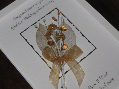Luxury Personalised Handmade 50th Wedding Anniversary Card -  Rose & Jewel Bouquet Boxed ANN3