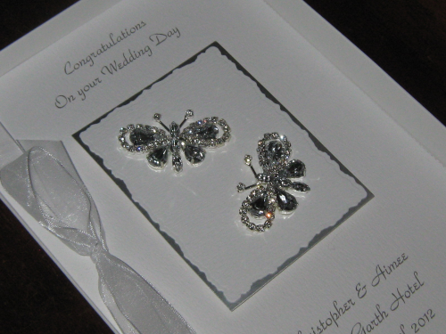 Luxury Handmade Wedding Card - Diamante Butterflies Boxed