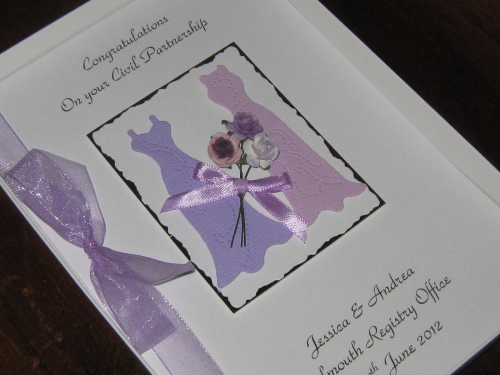 Personalised Handmade Civil Partnership Card Luxury Boxed CIV2