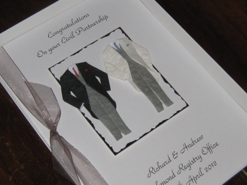 Personalised Handmade Civil Partnership Card Luxury Boxed CIV1
