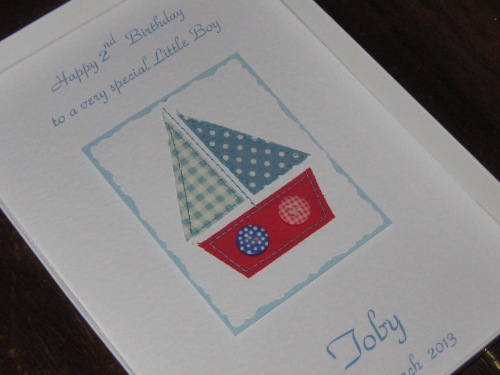 Handmade Birthday Card - Patchwork Sailing Boat Luxury Boxed