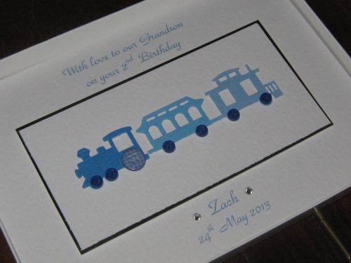 Handmade Birthday Card - Train Luxury Boxed