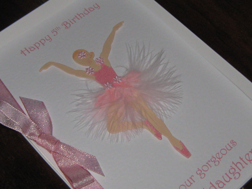 Handmade Birthday Card Ballerina Luxury Boxed