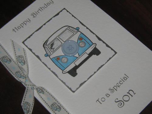 Handmade Birthday Card - Camper Van Blue