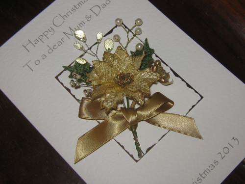 "Handmade Christmas Card - ""Glitter & Gold"" Luxury Boxed"