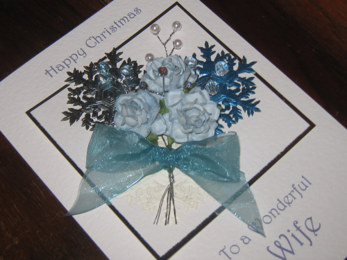 "Handmade Christmas Card - ""Blue Snowflakes"" Luxury Boxed"
