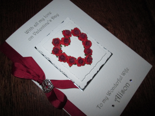 Personalised Handmade Valentine Card - Mulberry Rose Heart