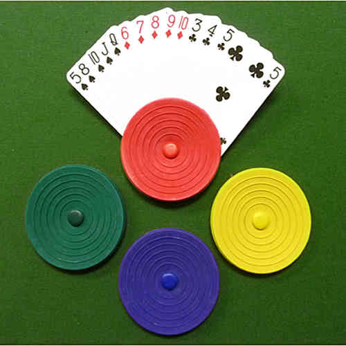 Round Playing Card Holders - Set of Four