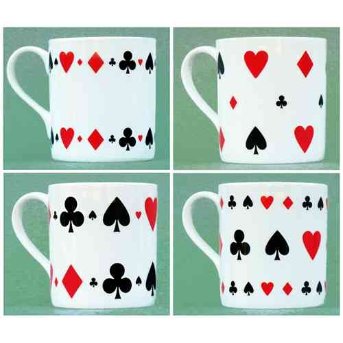 Card Motif Mugs - Set of Four