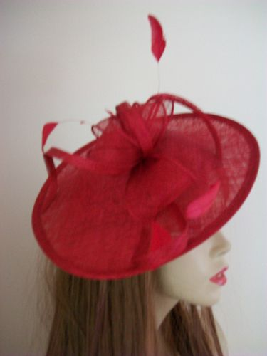 Red Saucer Fascinator Hat