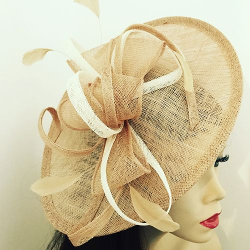 Pale Gold Ivory Saucer Fascinator