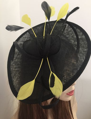 Black Yellow Saucer Fascinator