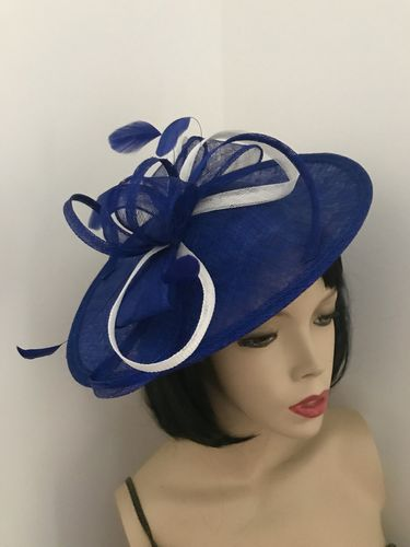 Cobalt Blue White Fascinator