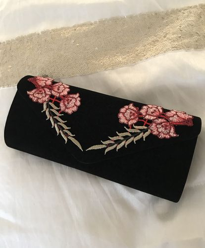 Black Velvet Rose embroidered clutch Bag