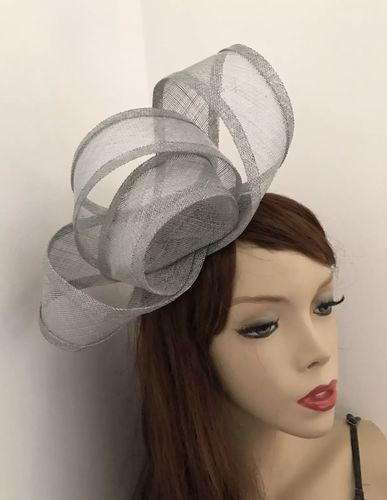 Silver Grey Loop Fascinator Hat