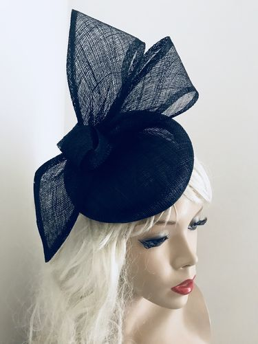 Navy Bow Pillbox Fascinator hat