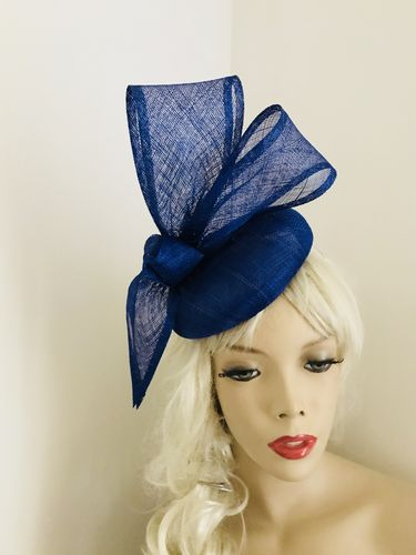 Cobalt Blue Bow Pillbox Button Hat