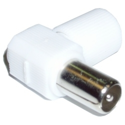 CONECTOR TV MACHO ACODADO BLANCO