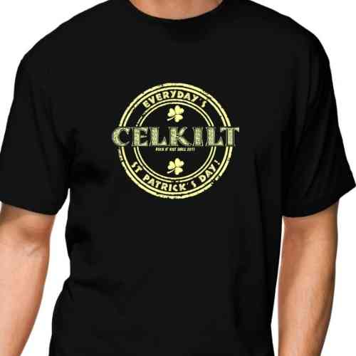 "BLACK T SHIRT FOR MEN ""EVERYDAY'S ST PATRICK'S DAY ! "" CELKILT"