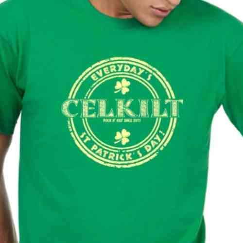 "IRISH GREEN T SHIRT FOR MEN ""EVERYDAY'S ST PATRICK'S DAY ! "" CELKILT"